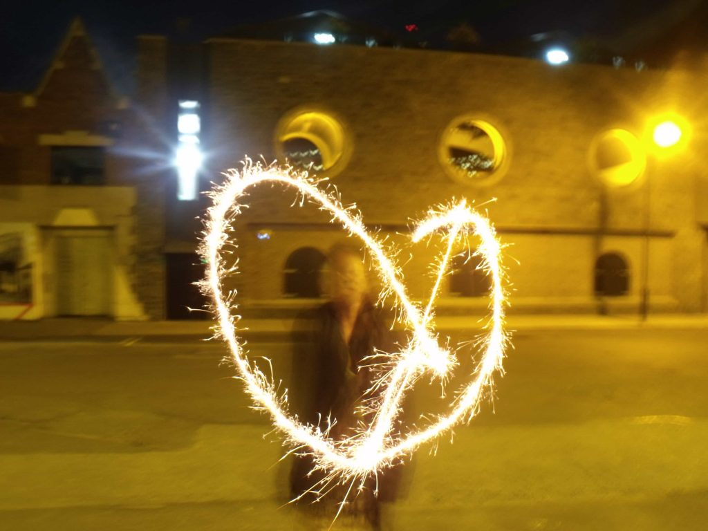Light painting of a heart